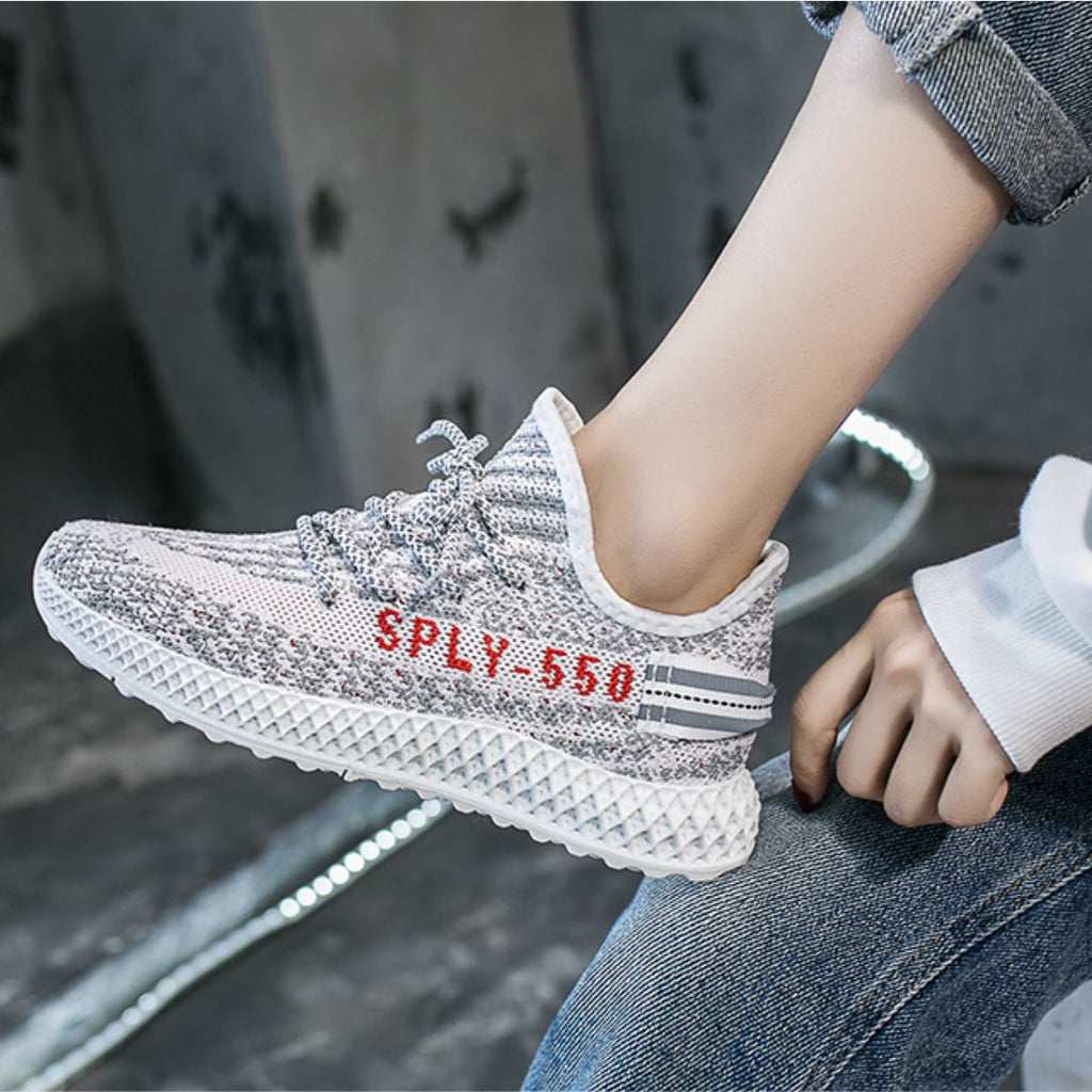 Reflective Fly-Knit Fabric Sneakers