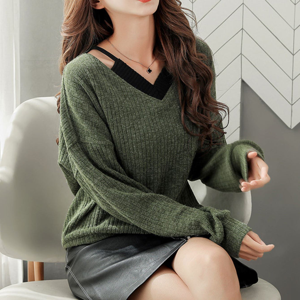 Loose Patchwork Collar Knitted Shirt