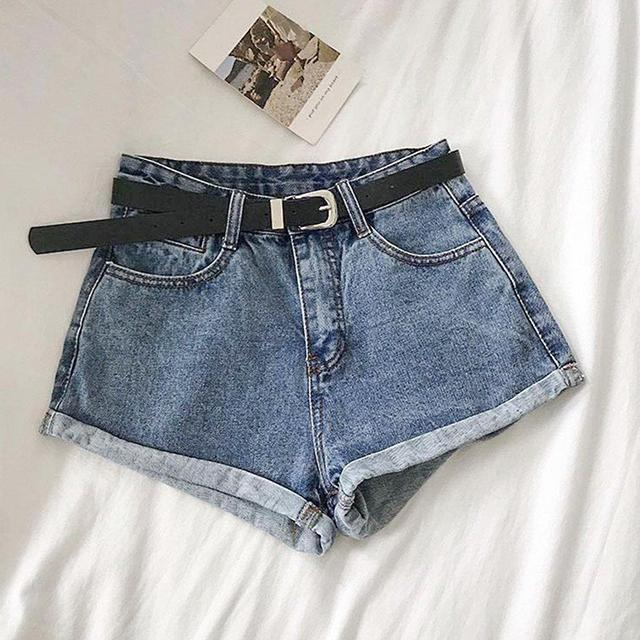 High Waist Curling Denim Shorts