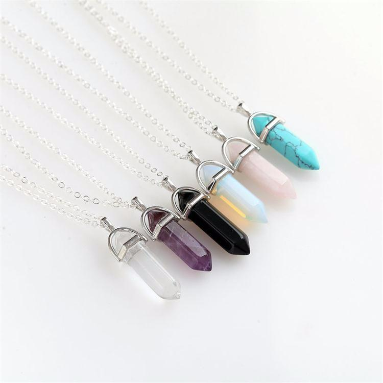 Natural stone pendant necklace fashein natural stone pendant necklace aloadofball Image collections