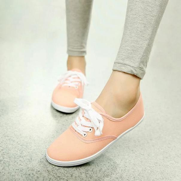 Solid Color Canvas Sneakers