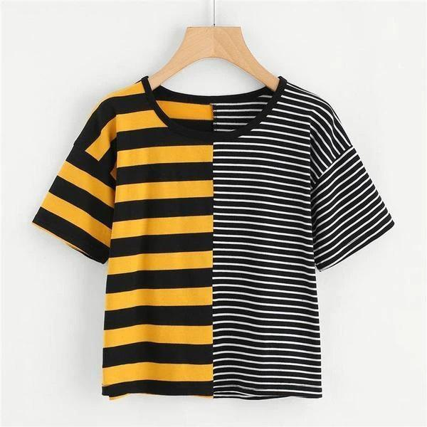 Two Tone Striped Crop T-Shirt