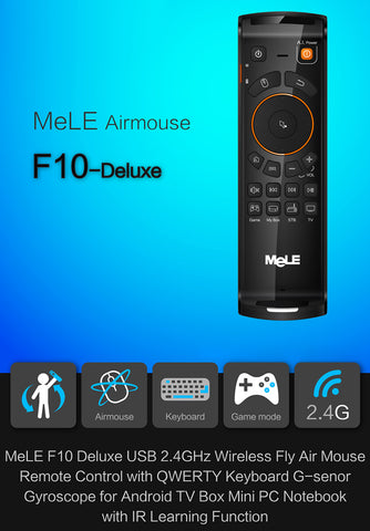 Mele F10 Deluxe IR Learning Remote 2 4G FlyMouse Keyboard