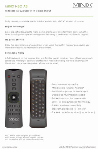 MINIX NEO A3 Wireless Air Mouse Keyboard Voice Input -Apusworld com au