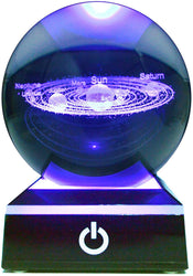 3D Solar System Crystal Ball Australia (80mm)