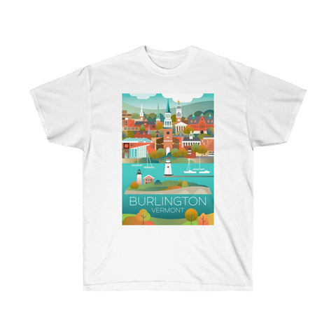 BURLINGTON, VERMONT UNISEX ULTRA COTTON TEE