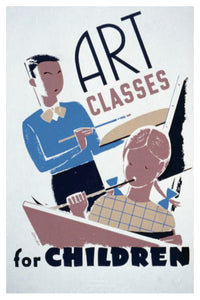 ART CLASSES WPA POSTAL CARD