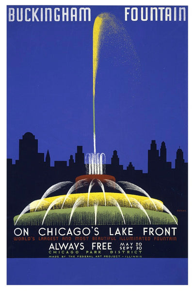 BUCKINGHAM FOUNTAIN CHICAGO WPA POSTAL CARD