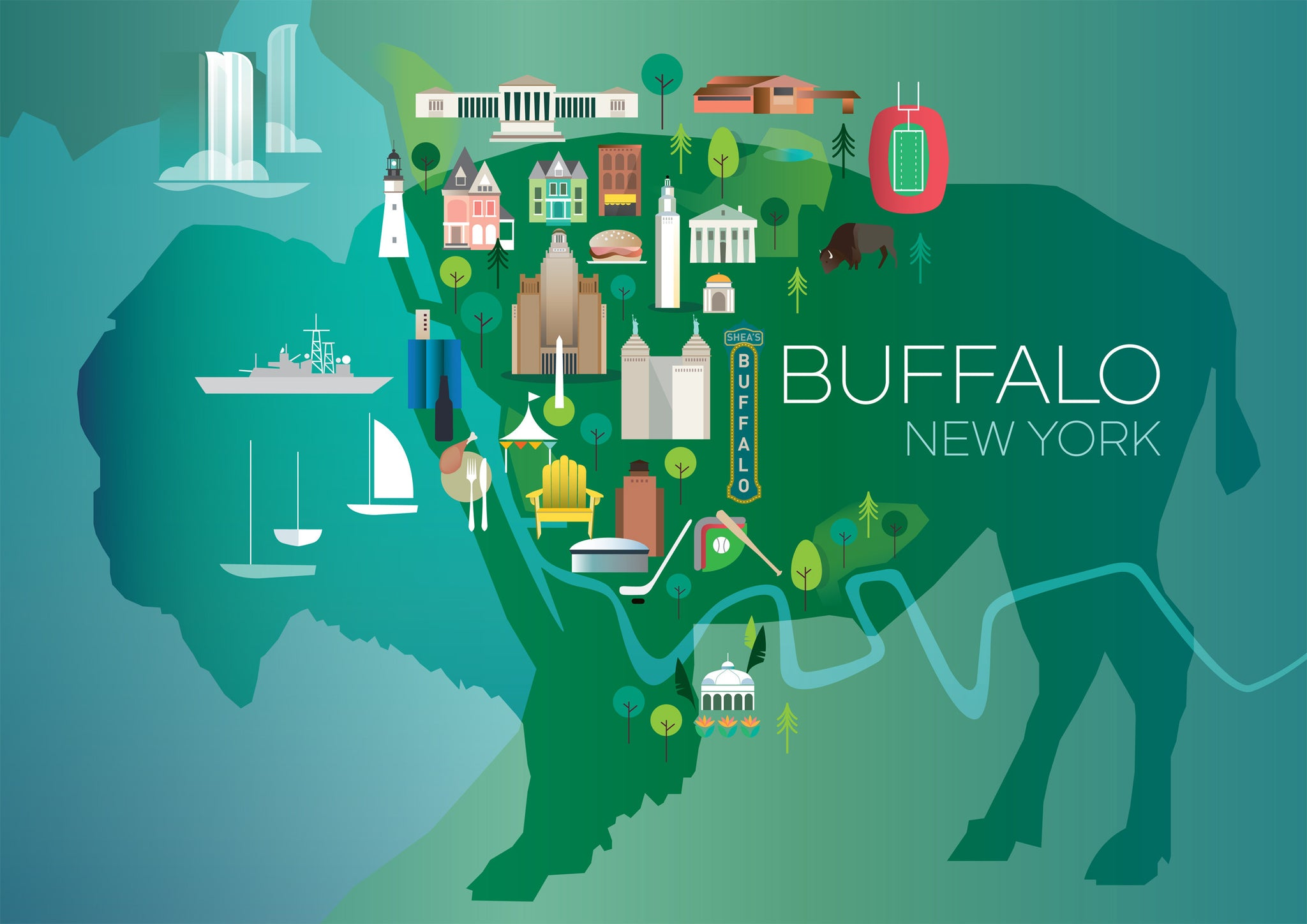 BUFFALO, BUFFALO, NEW YORK PRINT