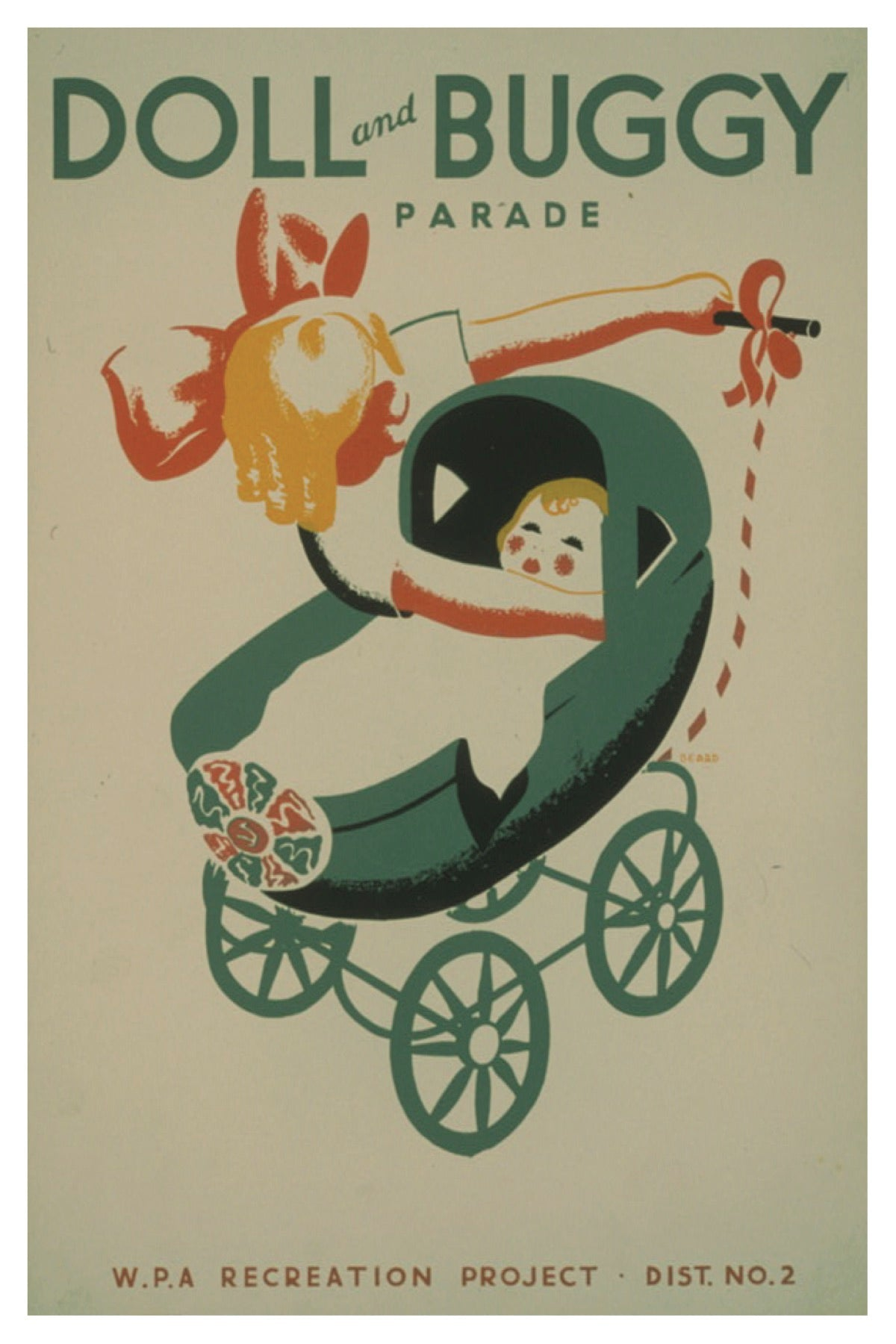 DOLL & BUGGY PARADE WPA POSTAL CARD