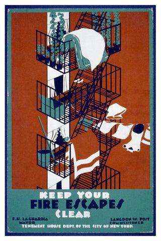 KEEP YOUR FIRE ESCAPES CLEAR WPA POSTAL CARD