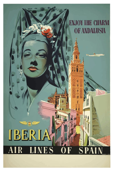 ANDALUSIA IBERIA AIR LINES POSTAL CARD