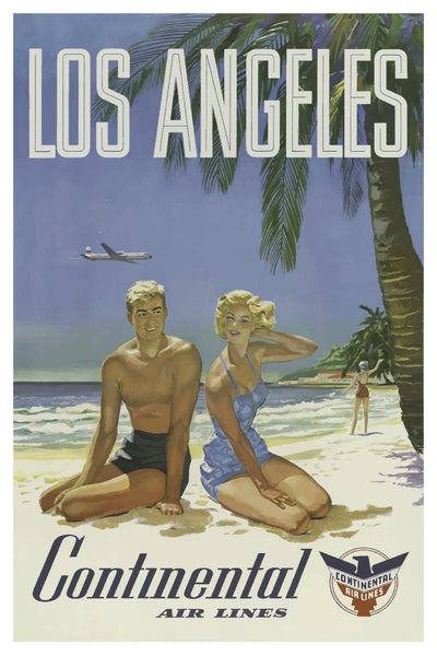 LOS ANGELES CONTINENTAL AIR LINES POSTAL CARD