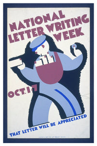 NATIONAL LETTER WRITING WEEK WPA POSTAL CARD