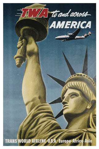 FLY TO AND ACROSS AMERICA TWA POSTAL CARD