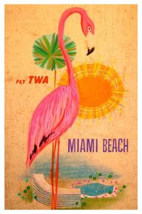 MIAMI BEACH TWA POSTAL CARD