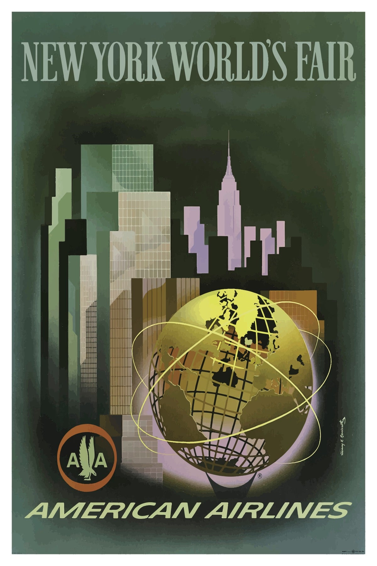 NEW YORK WORLD'S FAIR AMERICAN AIRLINES POSTAL CARD
