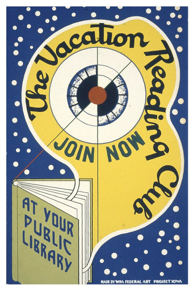 THE VACATION READING CLUB WPA POSTAL CARD