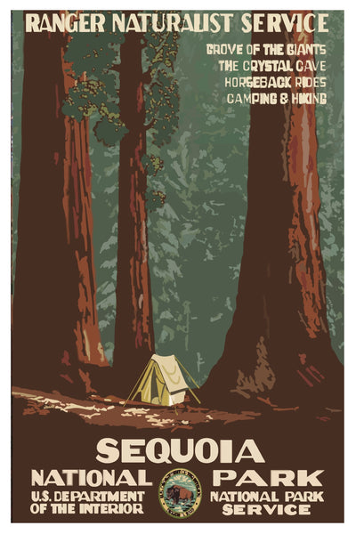 SEQUOIA NATIONAL PARK WPA POSTAL CARD