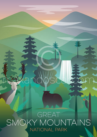 GREAT SMOKY MOUNTAINS NATIONAL PARK PRINT
