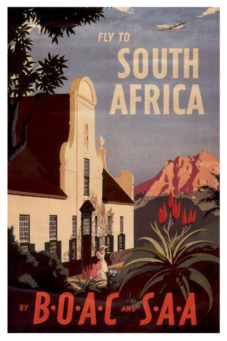 FLY TO SOUTH AFRICA BOAC SAA POSTAL CARD