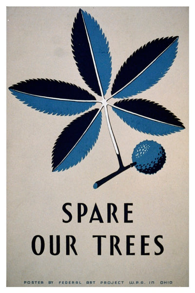 SPARE OUR TREES WPA POSTAL CARD