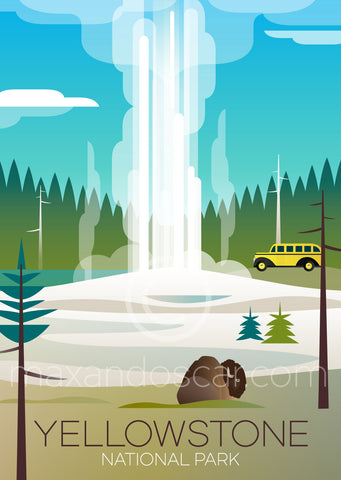 YELLOWSTONE OLD FAITHFUL PRINT