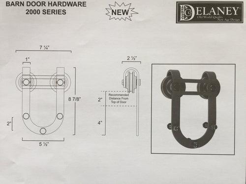 2000 Series Barn Door Hardware Kit