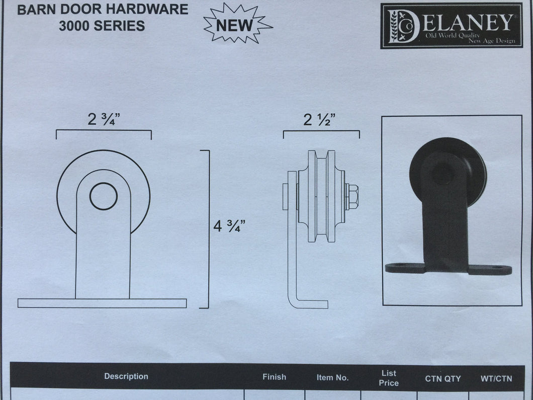 3000 Series Barn Door Hardware Kit