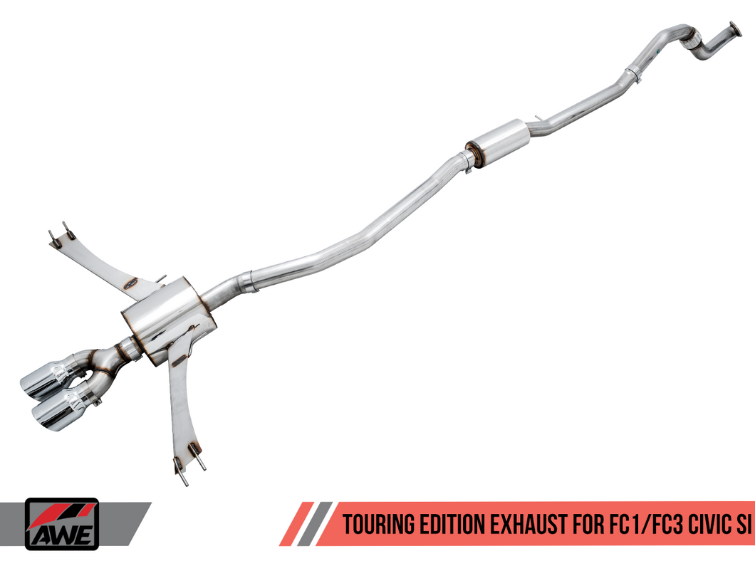 AWE Tuning 2016+ Honda Civic Si Touring Edition Exhaust w/Front Pipe & Dual Diamond Black Tips