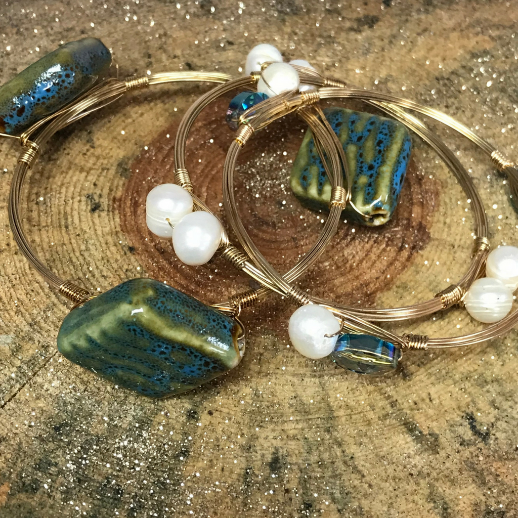 Green/Blue Wire Bangles – Southern Sins Boutique