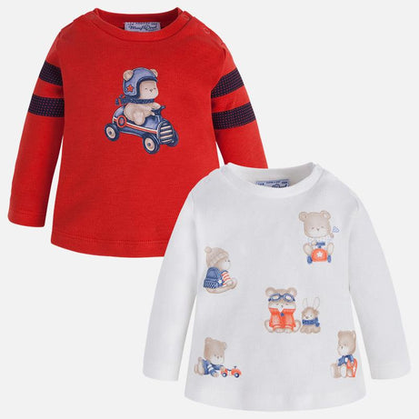 Mayoral Winter 2017/2018 Baby Boy Set of Two Long Sleeve T-Shirts - Passion Fruit