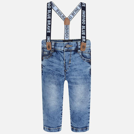 Mayoral Winter 2017/2018 Baby boy long denim pants with suspenders