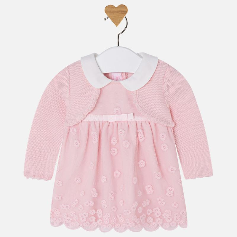 2f51dd4fb Mayoral Winter 2017 2018 - Baby girl long sleeve dress with cardigan ...
