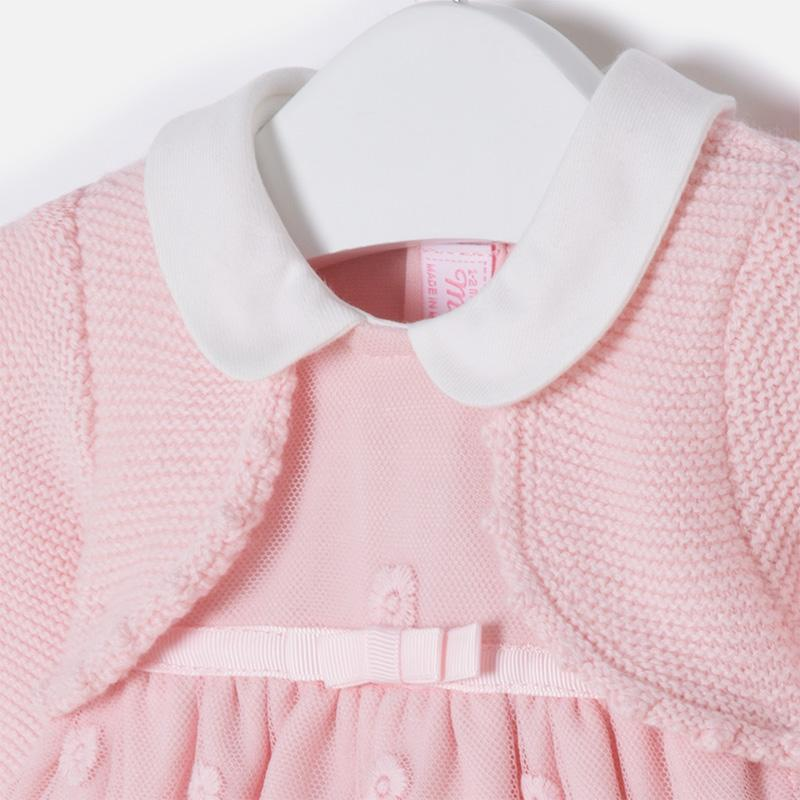 d628bf522fc1 Mayoral Winter 2017/2018 - Baby girl long sleeve dress with cardigan - Old  Pink