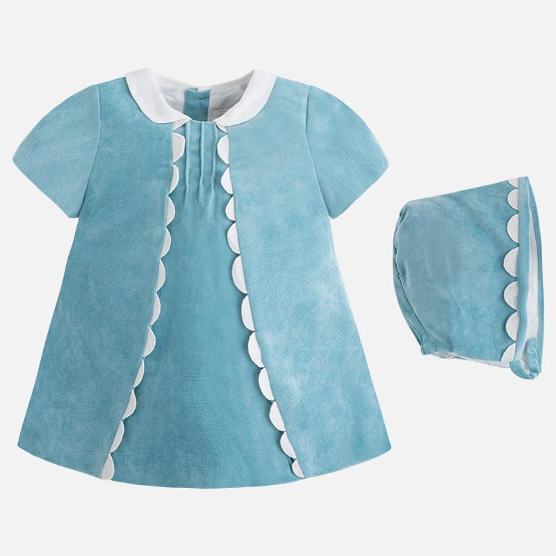 3d43bcaff8f1 Mayoral Winter 2017 2018 Baby girl short sleeve dress with bonnet ...