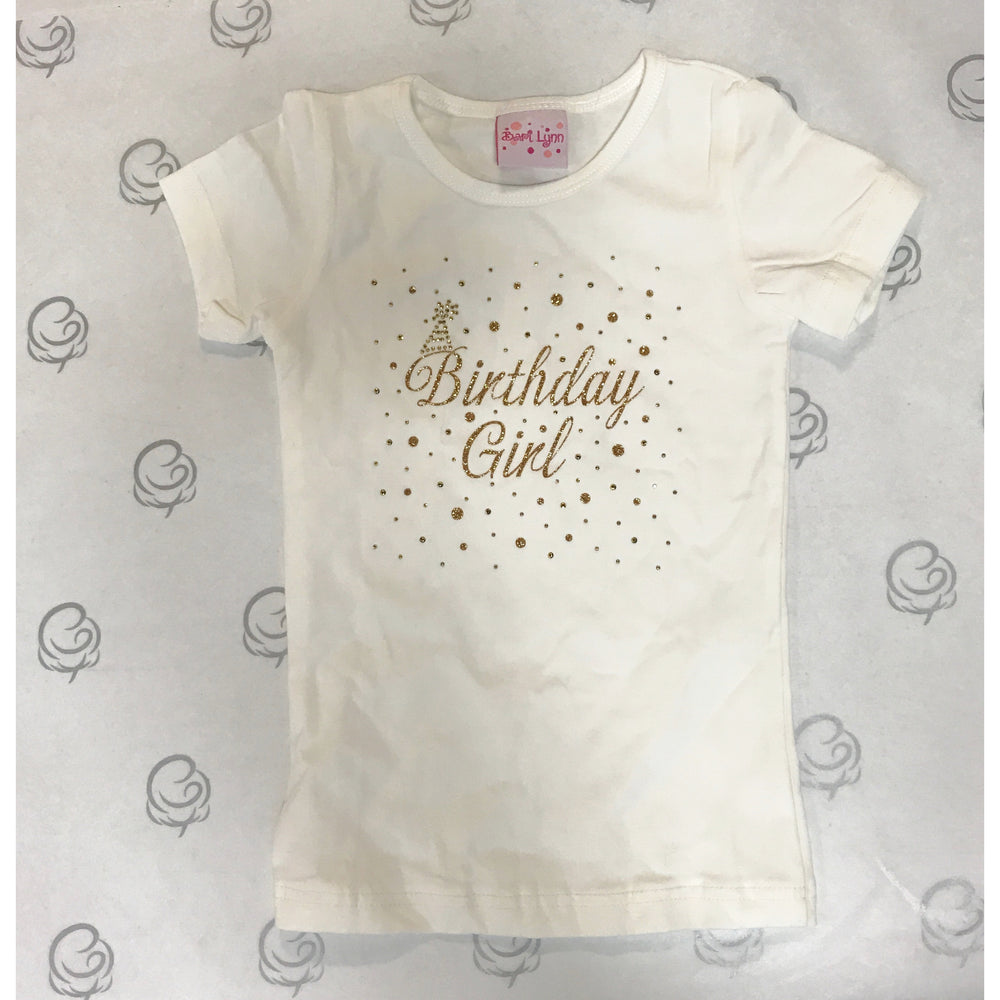 6351efd4 Bari Lynn Short Sleeve T-Shirt Ivory with Gold Happy Birthday ...