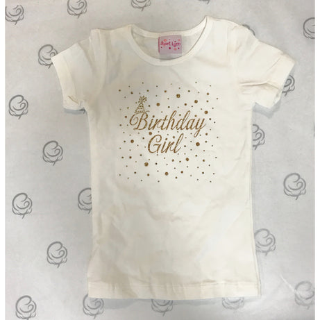 Bari Lynn Short Sleeve T-Shirt Ivory with Gold Happy Birthday