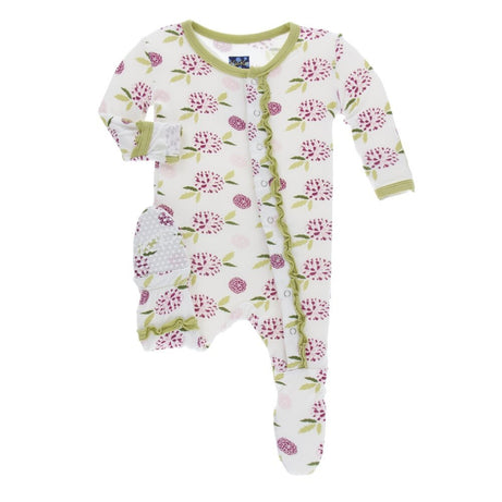 KicKee Pants Print Muffin Ruffle Footie with Snaps - Natural Marigold