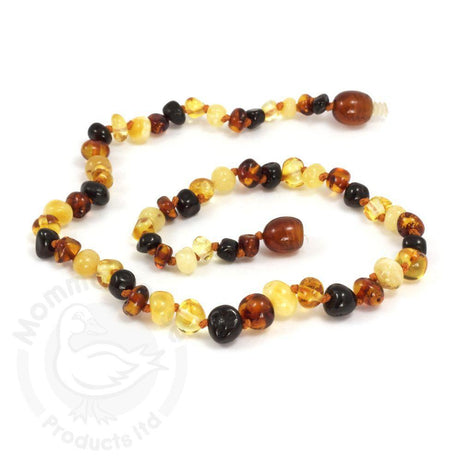 Momma Goose Baby Amber Necklace - Baroque Polished Multi