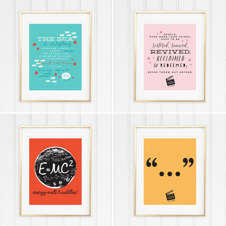 Genius Series Art Prints - Set of 4 - Jules Audrey Albert and Chaplin