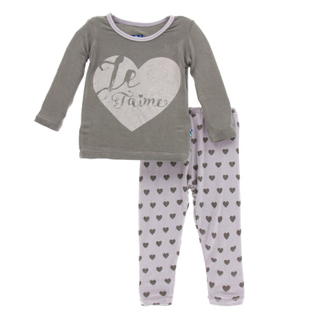 KicKee Pants Print Long Sleeve Pajama Set - Feather Hearts