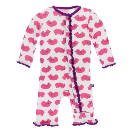 KicKee Pants Muffin Ruffle Coverall with Snaps - Natural Wombat