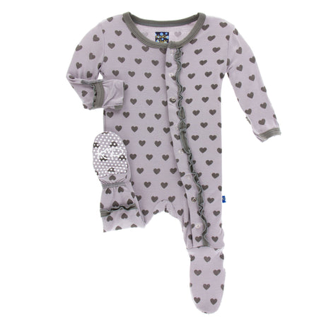 KicKee Pants Print Muffin Ruffle Footie with Snaps - Feather Hearts