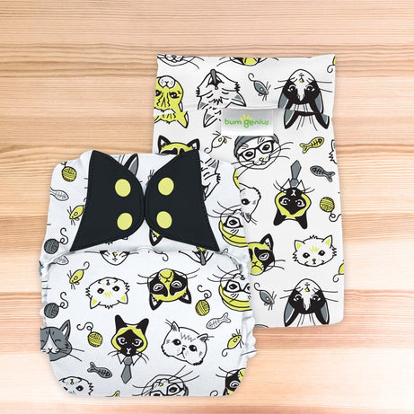 bumGenius Big™ - One-Size Pocket Cloth Diaper - fits 35-70 pounds - The Doodles Collection SINGLES