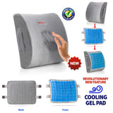 5-in-1 Lumbar Support Memory Foam Cushion for Wheelchair Use With Cooling Gel Pad