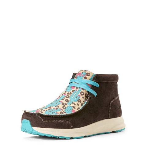 Ariat Ladies Spitfire Chocolate Suede Leopard Cactus Shoes