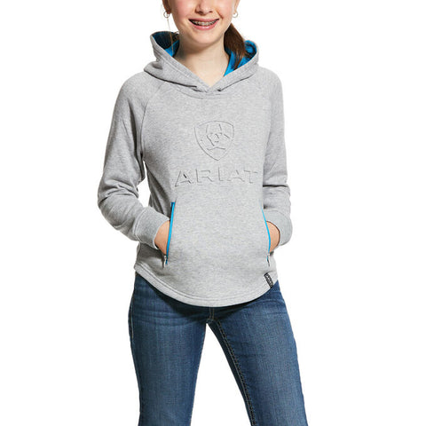 Ariat Girls Logo Hoodie Heather Grey