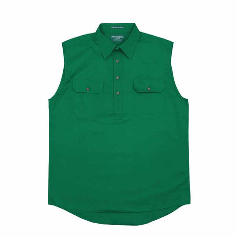 Just Country Mens Jack 1/2 button sleeveless shirt