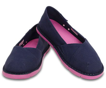 Crocs Girls Cabo slip on canvas loafers